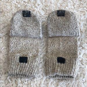 Thick wool mitten gloves